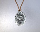 Pewter Grizzly Bear Pendant Necklace - UNISEX - 3 color choices - 3 length choices