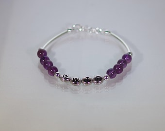 Gemstone & Sterling Silver WWJD Bracelet - Shown in Amethyst - Available in Many Gemstones and Swarovski Crystals