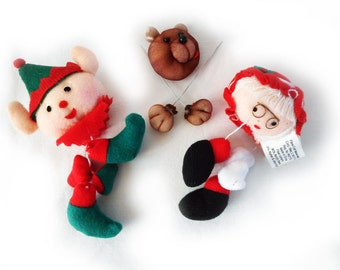 DIY Chirstmas Doll Heads and Hands Elf Mrs. Claus Bear for Ball Dolls or Soft Dolls Vintage Sewing Crafts Ornaments Holiday Decor