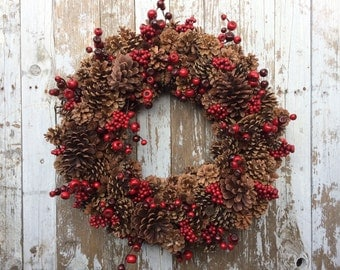 Pine Cone and Berry Wreath, Christmas Pine Cone Wreath for Door, Winter Wreath, Red Pine Cone Wreath