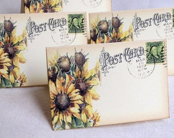 Wedding Place Cards Sunflower Postcard Tent Style Place Cards or Table Place Cards #57