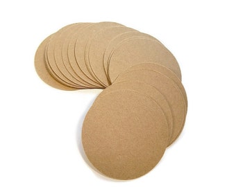 "Die Cut Paper Circles, Round Paper Circles, Kraft Round Circles, Blank Paper Circles, 3"" Set of 25"