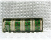 Vintage Set of 4 Holly Berry Napkin Rings Hallmark original boxes, holders dining dinner, cloth napkin, Holiday Christmas