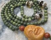 Jade Mala with Laughing Buddha - Prayer Beads - Buddhist Rosary - green