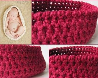 Cranberry Newborn Baby Bowl, Nesting Bowl, Baby Pod, Baby Cocoon, Crochet Newborn Bowl,  New Born Photo Props, Newborn Photography, Newborn