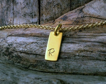 Solid Gold Tag Necklace Smooth Initial Necklace 14k solid Gift for Her Layering Necklace Bridal necklace Dainty necklace autumn