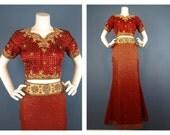Jahrgang zwei Stück Kleid, Rock / Top, aus Indien, Bollywood-Chic, Sz S