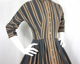 50% Off Sale Vintage 1950s or 60s Mad Men Striped Cotton Dress, Sz S