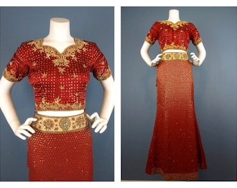 Vintage Two Piece Dress, Skirt / Top, from India, Bollywood Chic, Sz S