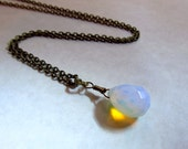 Sea Opal Glass Opalite Necklace on Antique Brass Chain, Handmade Wire-Wrapped 18 Inches with 2 Inch Extender
