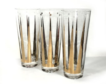 Retro Set of Three Hi-Ball Glasses, Tall, Bold Black and Gold Design, Long Tapered Triangles, Dots around the Top, Tall Narrow Glasses