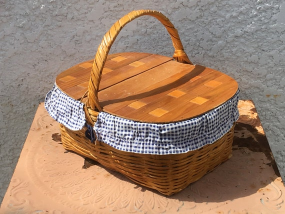 Woven Basket With Hinged Lid : Wooden picnic basket with double hinged woven wood lid blue