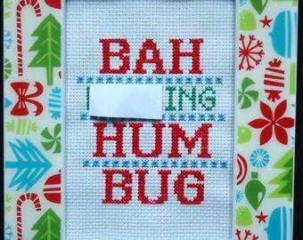 Bah F'ng Hum Bug Christmas Framed Cross Stitch