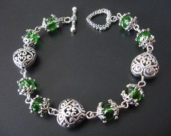 Heart Bracelet, Heart Jewelry, Celtic Bracelet, Celtic Jewelry, Green Swarovski Bracelet, Green Swarovski Jewelry