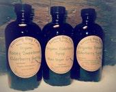 Elderberry Syrup Organic Black Elderberry Syrup Cold Flu Virus Tonic Sugar Cane Sweet Cinnamon Clove Ginger Spiced 4oz Amber Glass Bottle