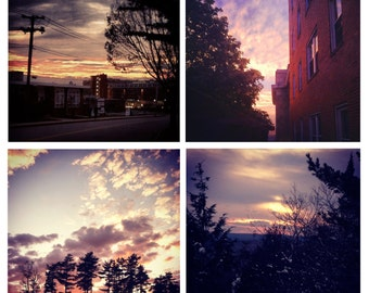 Photo Print Set 4 Square 4 Season Sunsets Portland Maine Sunset Fine Art Photos