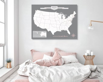 USA Map, Map Your Travels, USA Map Wall Art, Large World Map, Map Print, Traditional Map, World Map Canvas, Travel Map // H-I18-1PS AA4 05P
