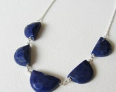Navy Blue Lapis Lazuli Five Stone Half Moon Necklace - Wire Wrapped Pendant Jewelry