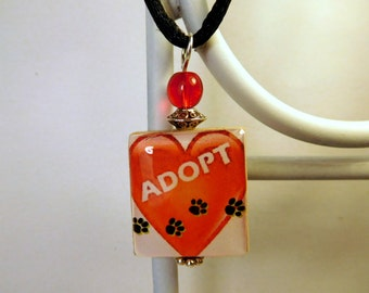PET RESCUE SCRABBLE Pendant / Adoption / Handmade Jewelry / Charm / Necklace with Satin Cord