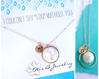Be My Bridesmaid Necklace, Personalized pearl necklace, Bridal jewelry, Initial necklace with message card for bridesmaid, wedding jewelry