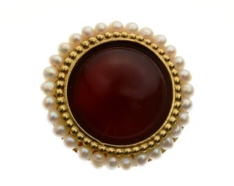 Ring For Women |  Gold Ring | carnelian Ring | Evening Ring | Pearl Ring | Unique Ring | Hand Made Rings | Artisan Rings | Vintage Ring