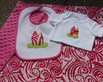 Baby girl surfer gift Set surfboard blanket pink batik surf baby gift