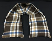 XL Flannel Heated Neck Warmer, Corn Heating Pad, Heated Neck Wrap, Hot Cold Physical Therapy Wrap - Brown Blue Plaid Flannel