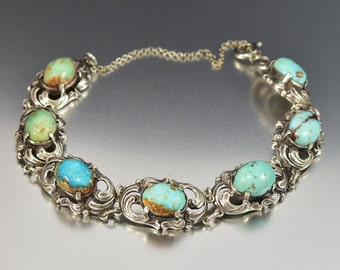 Vintage Turquoise Silver Bracelet, Arts & Crafts Sterling Bracelet, Art Nouveau Bracelet, Antique Jewelry, Boho Rustic Wedding Jewelry