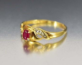Gold Ruby Engagement Ring, Ruby Ring, 14K Yellow Gold Ring, Vintage Wedding Band Natural Ruby Ring, 1940s Vintage Jewelry, Promise Ring,
