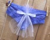 Something Blue Bachelorette TULLE train Honeymoon Sexy, Wedding Shower, Panty, Underwear, Lingerie Bling in rhinestones - size SMALL