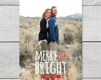 Merry and Bright 5x7 holiday photo card