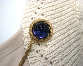 Blue Sweater Clip Round Midnight Navy Blue Gold Setting Upcycled Vintage Inspired Jewelry Cardigan Guard