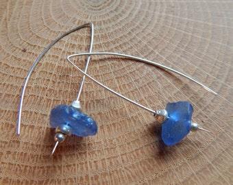 Rare Blue Sea Glass Wishbone Earrings, blue beach glass earrings, sea glass jewelry, beach glass jewelry, sterling silver dangle