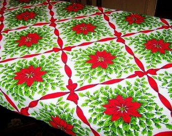 """Vintage Christmas Tablecloth, 1970's, Bright Colors, 61"""" x 48"""", Almost Perfect, Red Bows, Poinsettias, Holly, FREE SHIPPING"""