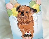 Brussels Griffon 'n Balloons Greeting Card