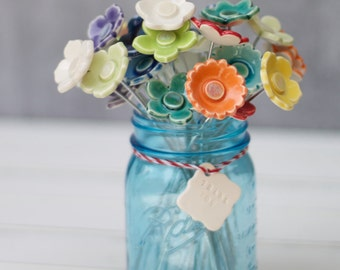 porcelain flower wedding favor, single flower