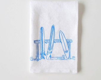 Linen Tea Towel - Three Surfboards Kitchen Towel - Choose your fabric and ink color