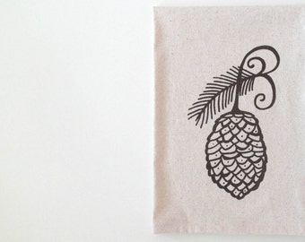 Cotton Kitchen Towel  - Pine Cone Towel - Choose your ink color