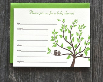 Owls baby shower invitation fill in the blanks - set of 5 - chocolate brown and grass green