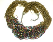 Tribal Multi Strand Necklace - Boho Hippie Statement Necklace - Beaded Vintage Jewelry