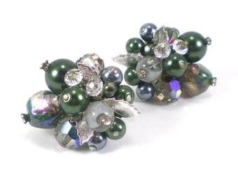Crystal Art Glass Cluster Earrings - Vendome Vintage Jewelry - Pearls Silver Leaves Green Clip On Earrings