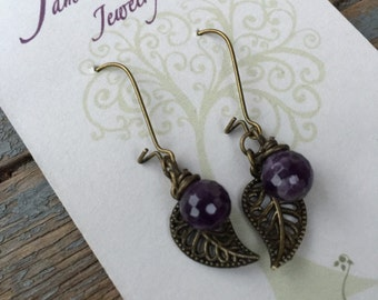 Antique brass leaf earrings with amethyst