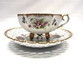 Vintage 6-inch Oversize Handpainted Porcelain Lilac Tea Cup with Reticulated Saucer Set