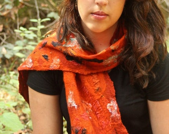 Nuno Felted Collage Scarf Merino Wool Upcycled Silk Scraps in Burnt Orange Fall Colors OOAK Gift for Her