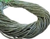 Olive Jade Beads, Smooth Heishi, Tiny Cylinders, SKU 3421A