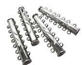 2 Slide Clasp, 7 strand Brass Slide Lock Clasp, Multi Strand Clasp, Silver Plated Clasp, 7 strand, 10.5mm x 40.5mm x 6mm, SKU 5062