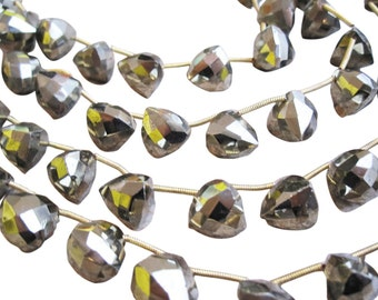 Pyrite Beads Briolettes, Faceted 3D Trillion Triangle, SKU 2994