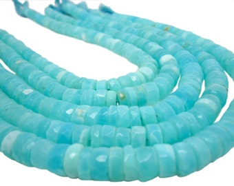 Blue Peruvian Opal Beads, Faceted Heishi, Blue Opal Heishi, SKU 4815