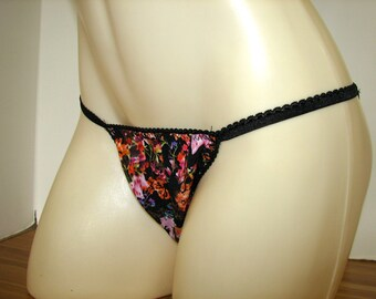 Winter Flowers String Bikini Fashioned for men with a Roomy Front offering a Full Bum or Butt Hugging seam Panties for Men size S M L XL