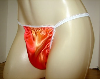 Tangerine Super Shiny Satin Simple Chic String Bikini Dress Up Sissy Panties Roomy  Wide Front for Men Full Open or Bum Hugging Seam